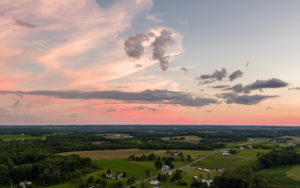Centerville Ohio - Aerial View of Ohio Field On A Pink Sunset Evening